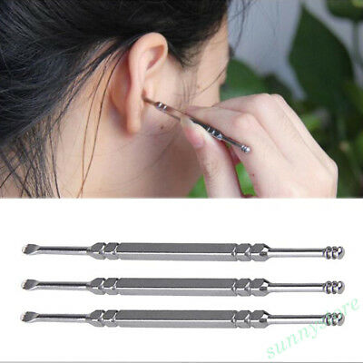 1Pc Stainless Steel Spiral Double Ear Pick Curette Wax Earpick Scoop Cleaner HOT