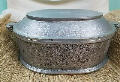 Vintage Guardian Service Ware Cast Hammered Aluminum 2 Piece Oval Roaster Set!