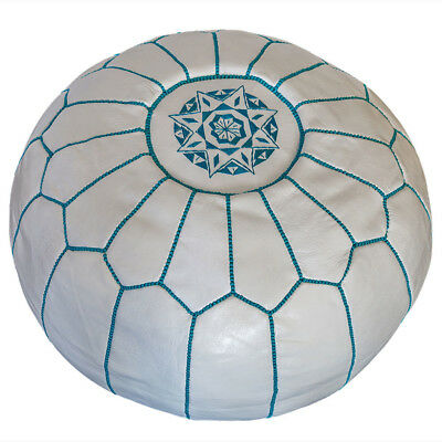 NEW White & Turquoise Traditional Stitch Ottoman