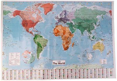 World Map With Country Flags Detailed Wall Chart Waterproof Laminated 68x98cm