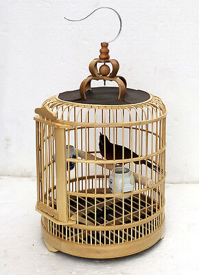 Mew Vintage Wood Bamboo  Pagoda Style Bird Cage Matchstick