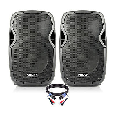 """Pair of Active Powered 12"""" Mobile DJ PA Disco Speakers with Cables 1200 Watts"""