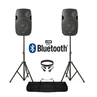 """Pair of Active Powered 10"""" Bluetooth DJ PA Disco Speakers + Stands & Cables 800W"""