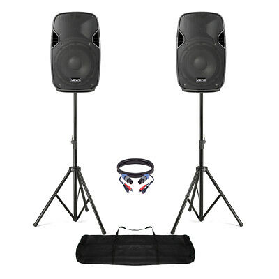 """Pair of Active Powered 8"""" Mobile DJ PA Disco Speakers with Stands & Cables 400W"""