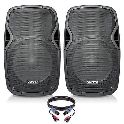 "Pair of Active Powered 15"" Mobile DJ PA Disco Speakers with Cables 1600 Watts"