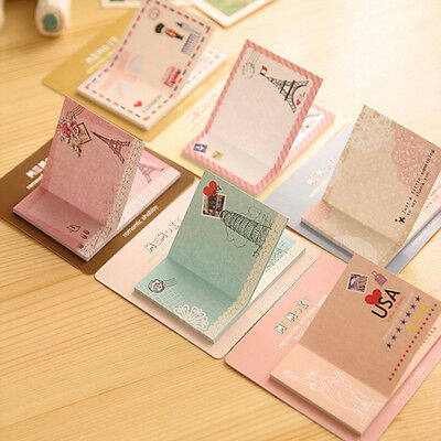 5pcs Cute Retro Occident City Building Memo Pad Sticky Note Page Marker Planner