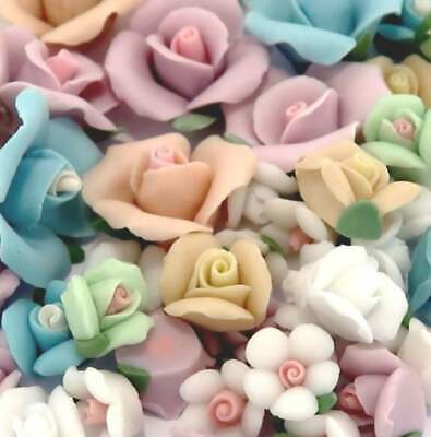 """30 pcs Mix color Porcelain Flowers 17mm 0.75"""" Craft DIY Flat in the Back New"""