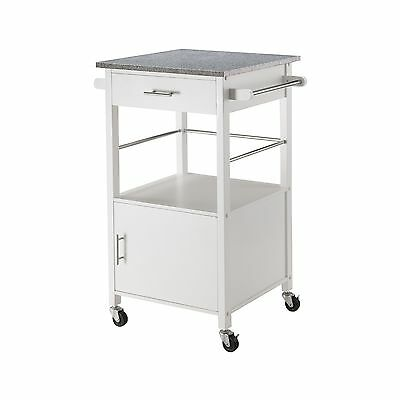 Winsome Wood Davenport Kitchen Cart with Granite Top White New