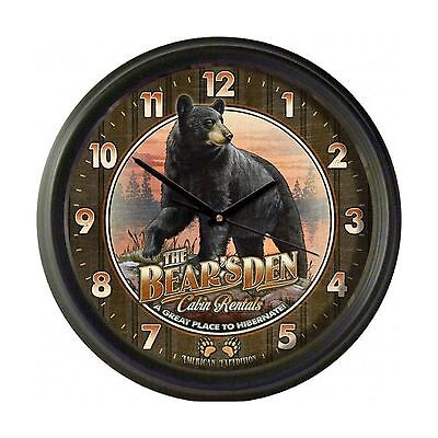American Expedition Vintage Bear's Den Cabin Rentals Clock New