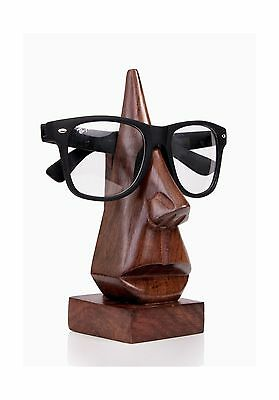 Classic Hand Carved Rosewood Nose-Shaped Eyeglass Spectacle Holder New