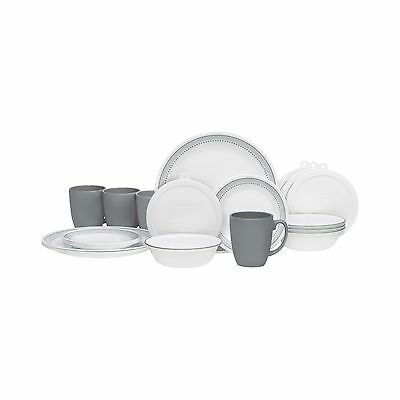 "Corelle 20 Piece ""Mystic Gray"" Livingware Dinnerware Set White Mystic Gray New"
