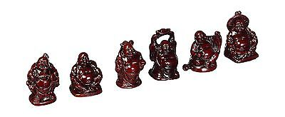 Laughing Buddha - Statues - 6 Figurines Set - Red New