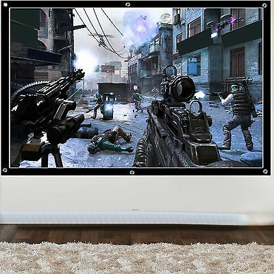 """100"""" inch 3D/HD Projection Screen Home Cinema Projector Fabric 16:9 Matte White"""
