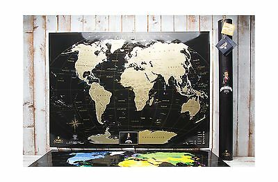 "Black Scratch World Map ""MyMap Black Edition"" w Large USA Canada States P... New"