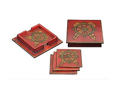 Wooden Coasters Set of 6 with Red Print Design and Coaster Holder for Bar... New