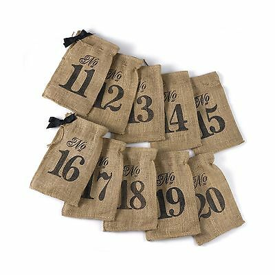 Hortense B. Hewitt 11 to 20 Burlap Table Number Wine Bags New