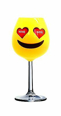 DCI 54762 X-Large/750ml Emoji Unique Heart Eyes Wine Glass Multicolor New
