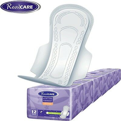 6 x RealCare Ultra Thin OVERNIGHT Pads With Wings 12pk (72 pads). Aussie Seller