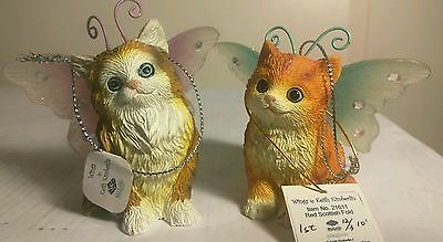 "Westland WINGS Kitten ornaments ""Red Scottish Fold""&""Wegie"" 1E"
