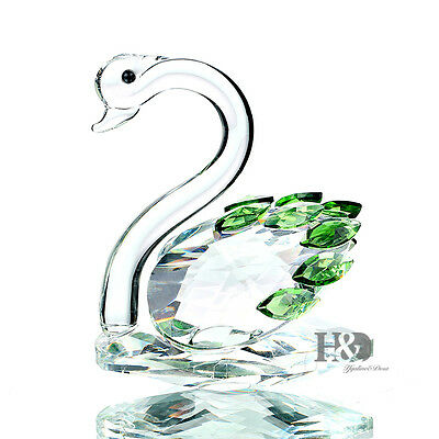 H&D 3D Green Crystal Paperweight swan Figurines Glass Wedding Ornaments Gift