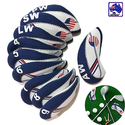 10pcs USA American Flag Golf Club Head Cover Neoprene Iron Protect Set OBGO56201