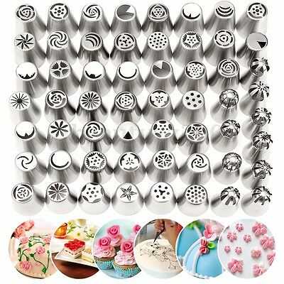 56 pcs Russian Icing Piping Nozzles Flower Tips Cake Decorating Pastry Tool Bake