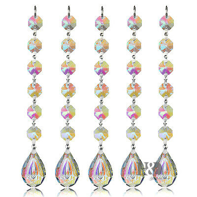 H&D 5X Hanging Chandelier Crystal Suncatcher Prisms Rainbow Drops Pendants 38mm