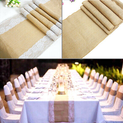 1 5 10 30x275cm Hessian Lace Table Runners Burlap Jute Lace Rustic Wedding