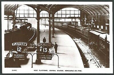 Newcastle Tyne & Wear Central Station Vintage WHS Kingsway Real Photo Postcard