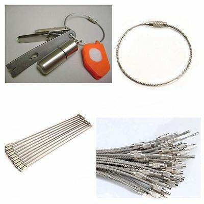 10PCS Hiking Tool Wire Keychain Cable Key Ring Stainless Steel