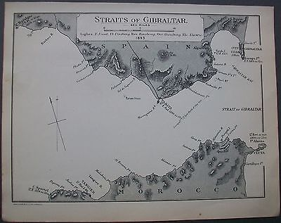 1896 Straits of Gibraltar Orient Line Sea Chart Port Antique Victorian Map