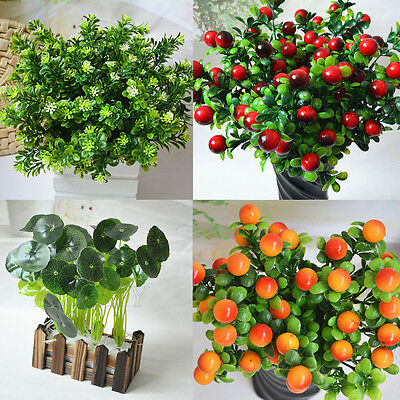 1x Artificial Fake Plants Green Leaves Foliage Indoor Outdoor Garden Home Decor