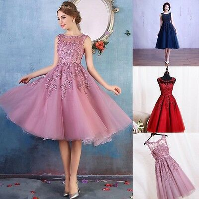 Short Evening Formal Party Dress Prom Ball Gown Homecoming Bridesmaid Applique