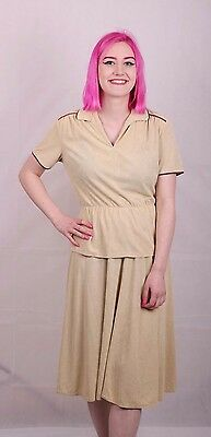 Genuine Vintage 70's Cute Brown Skirt & Top Festival Size 10 Small 12