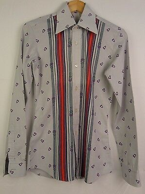 1970s French Striped Repeat Pattern True Vintage Shirt Mod Disco -XS- DX03