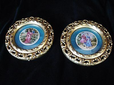 Vintage Pair Of Porcelain Large Hand Painted French Courting Scenes Artist Signe