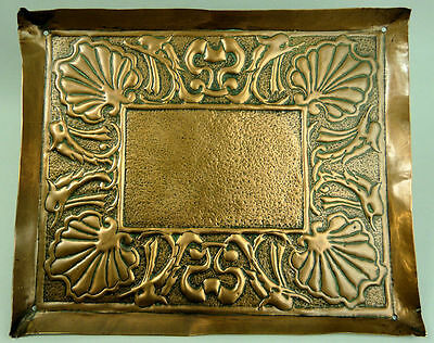 Newlyn School Repousse Decorated Arts & Crafts Copper Tray (Signed)