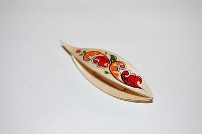 Wooden Tatting Shuttle With Pick Hand Made in Maple With Painting