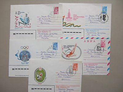 Five different event OLYMPIC GAMES 1980 special cancel postal stationery