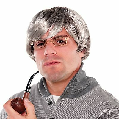 Mens Silver Fox Old Man Stag Night Comedy Fancy Dress Costume Accessory Grey Wig
