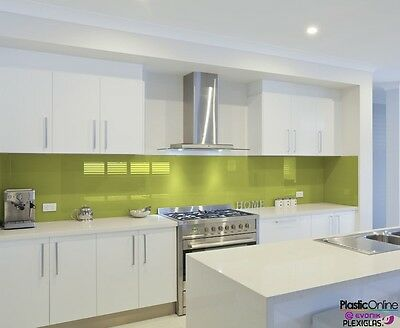 Pistachio Green Plastic Perspex Acrylic Kitchen Bathroom Splashback Like Glass