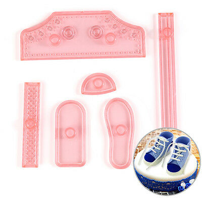 6X Sneaker Shoes Icing Cake Decor Mold Embosser Cutter Mould Sugar Craft Tools C