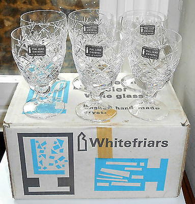 Six Whitefriars Glass Garland Small Wine Glasses (Boxed)