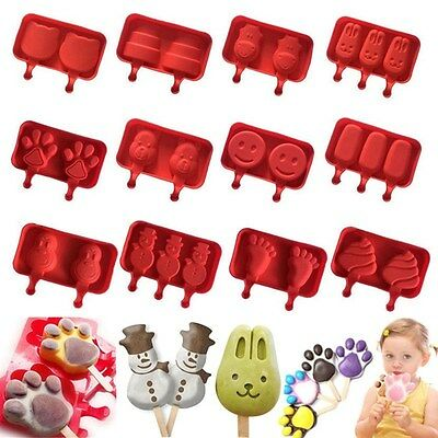 Silicone Pop Popsicle Mold Tray Pan Frozen Ice Lolly Mould Ice Cream Maker Tool