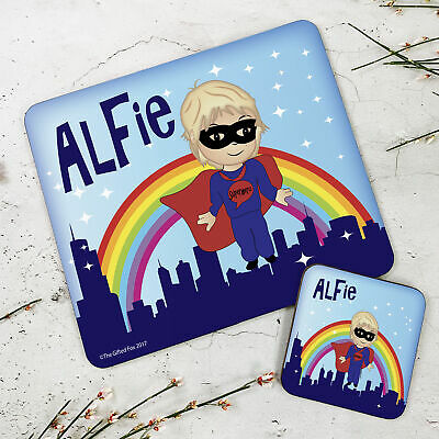Personalised Kids New Superhero Wooden Glossy Placemat and Coaster Set