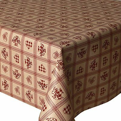 Traditional Floral Red Hearts Tartan Gingham Checked Cream Pvc Vinyl Table Cloth