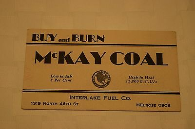 Vintage Advertisement Blotter, McKay Coal, Interlake Fuel Co, Buy And Burn