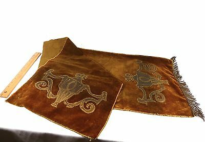 Victorian Table Runner Brown Velvet and Gold Metallic Leather Applique Antique