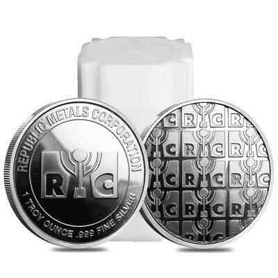Roll of 20 - 1 oz Republic Metals (RMC) Silver Round .999 Fine (Tube,Roll,Lot of