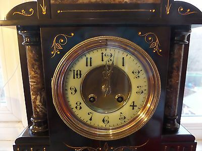 c1890 FULLY RESTORED &  LOVELY CONDITION FRENCH SLATE AND MARBLE MANTEL CLOCK